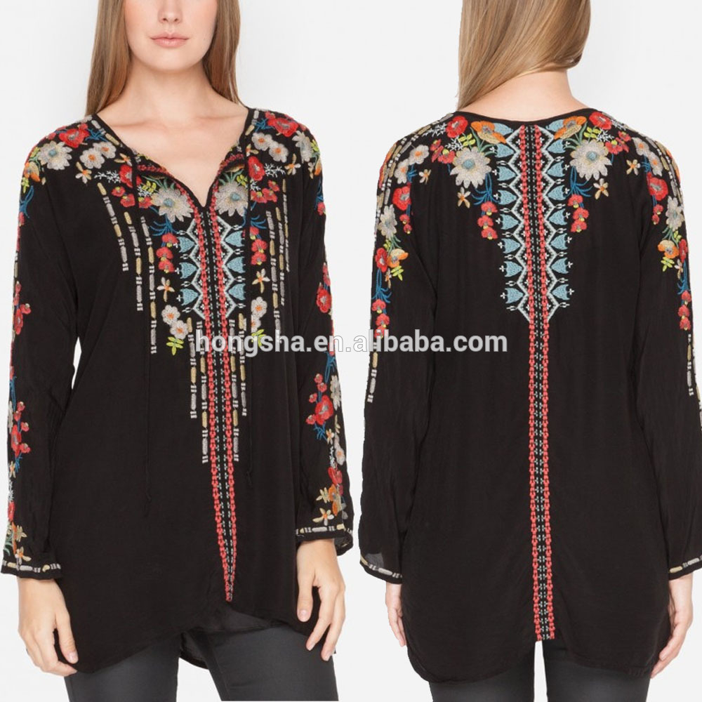 Bohemian Embroidery Patterns Boho Clothing Spring Bold Floral Rayon Embroidery Designs Ladies Tops Embroidered Blouse Back Neck Design Hst5920 Buy Boho Clothingembroidery