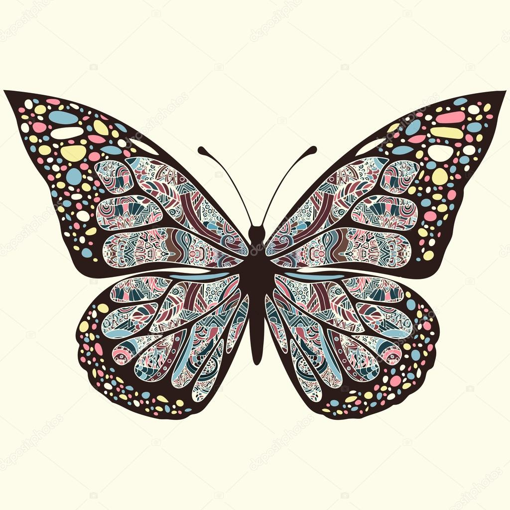 Bohemian Embroidery Patterns Butterfly With Patterns Wings Multicolored Oriental Ornaments In