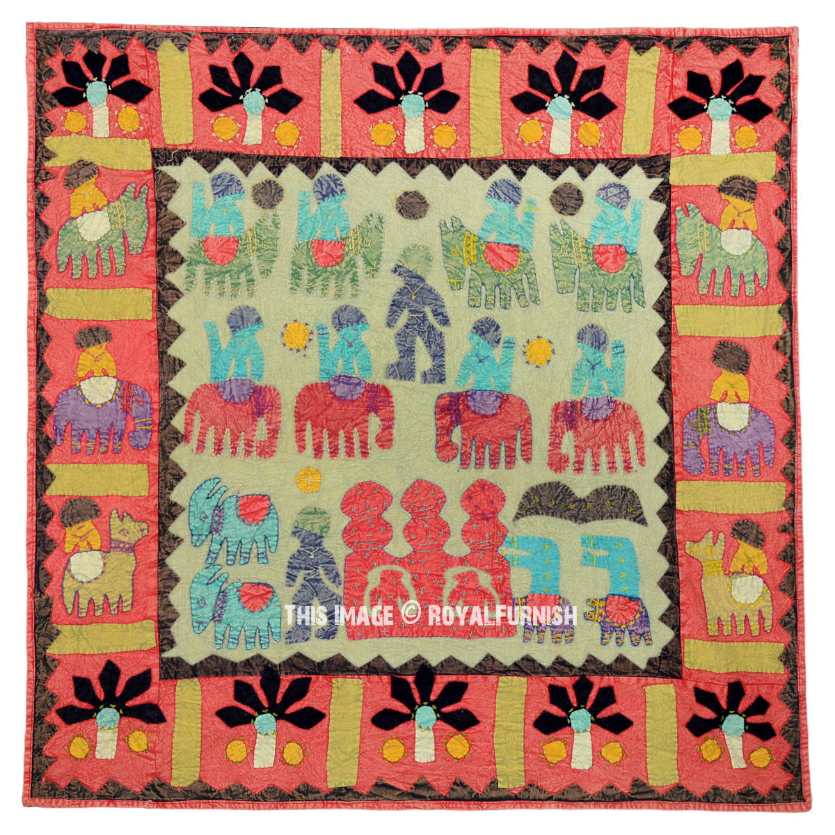 Bohemian Embroidery Patterns Green Indian Multi Patchwork Bohemian Tapestry Wall Hanging Ethnic Decor Art