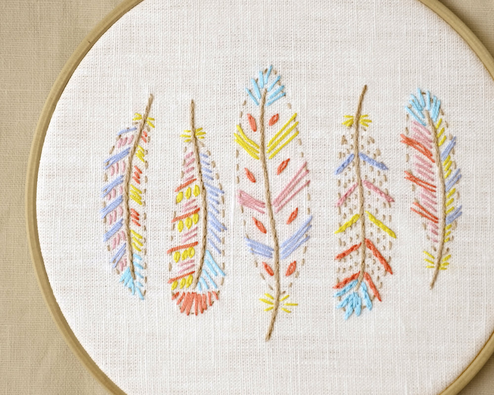 Bohemian Embroidery Patterns Hand Embroidery Pattern Pdf Colorful Feathers Design For Nursery Or Kids Room Naiveneedle