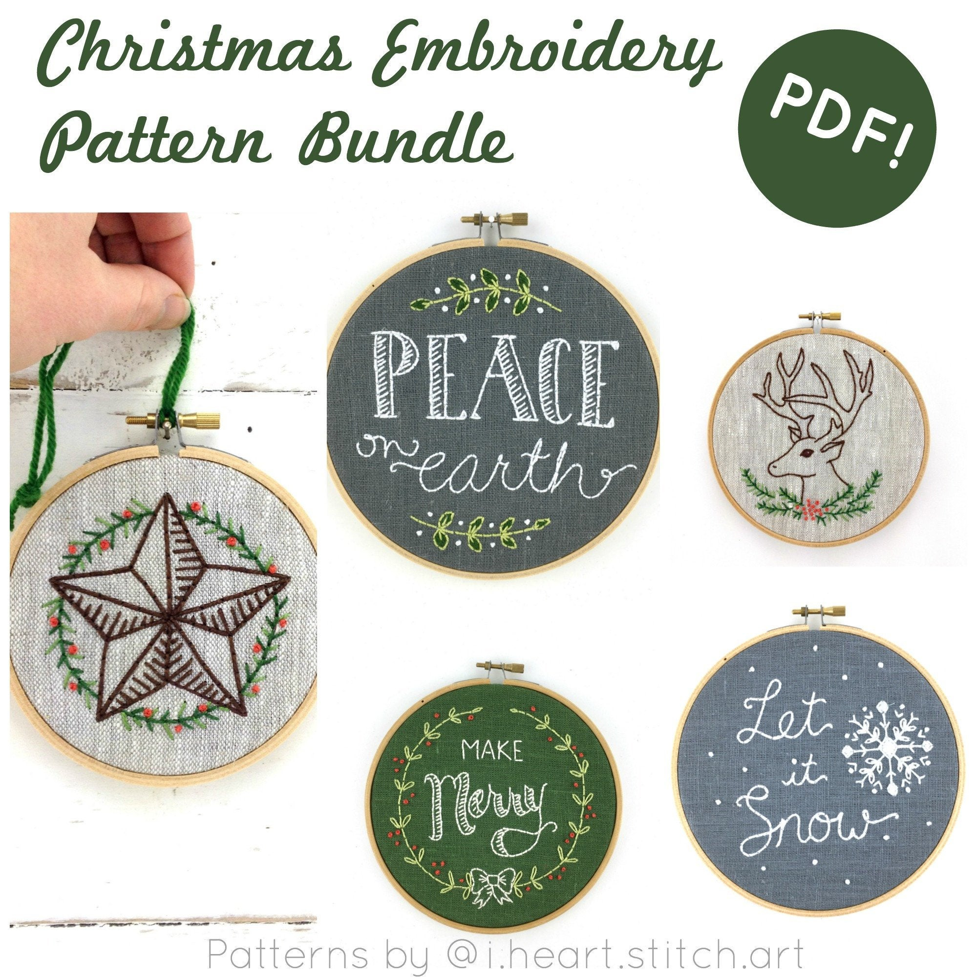 Christmas Embroidery Patterns Christmas Embroidery Pattern Set Digital Download