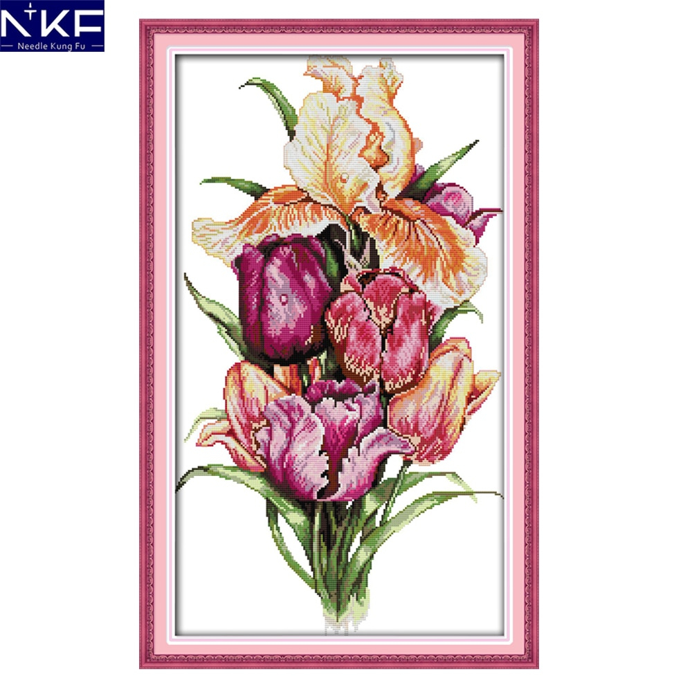 Christmas Embroidery Patterns Us 118 49 Offnkf Noble Tulips Flower Style Needlework Embroidery Designs Handcraft Christmas Cross Stitch Patterns Charts For Home Decoration In