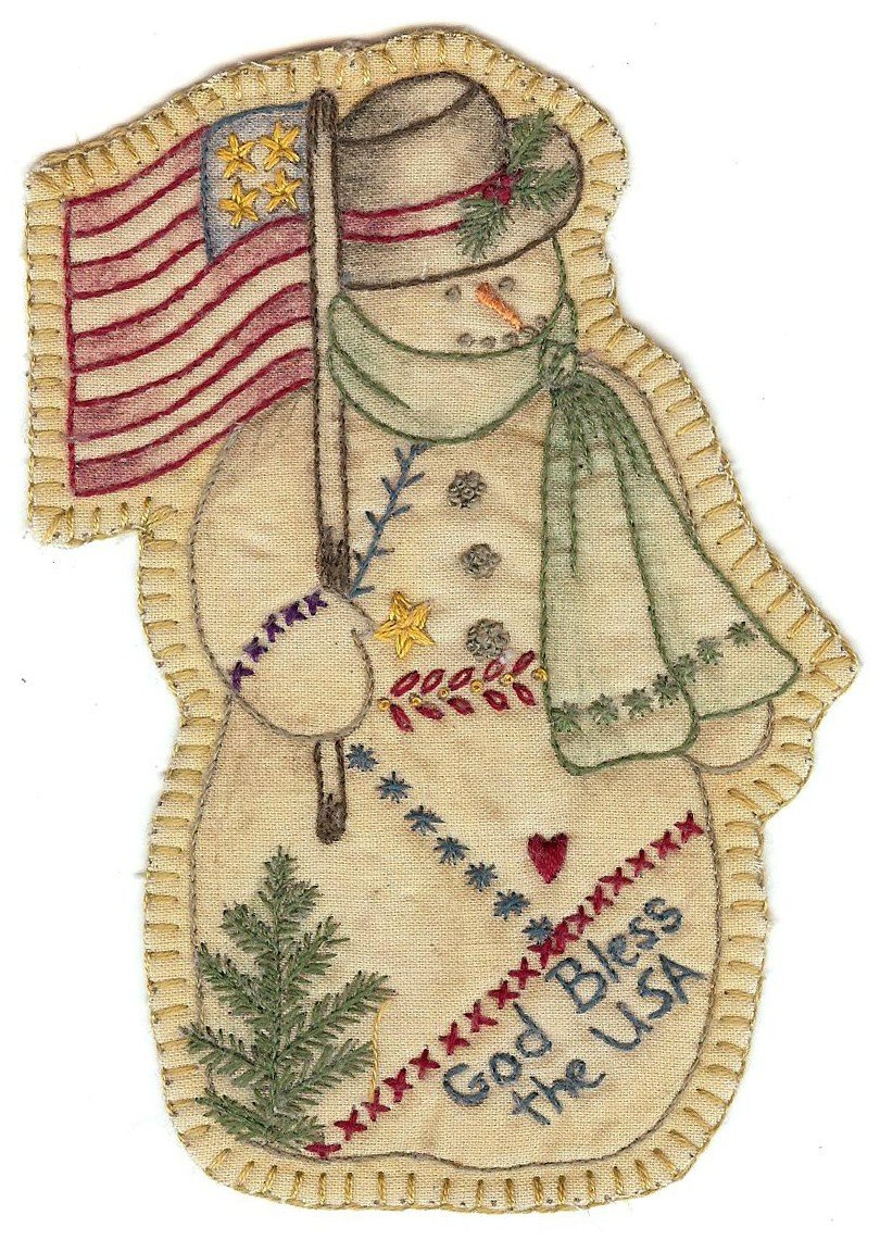 Christmas Hand Embroidery Patterns 11 Vintage Christmas Snowman 648260799366