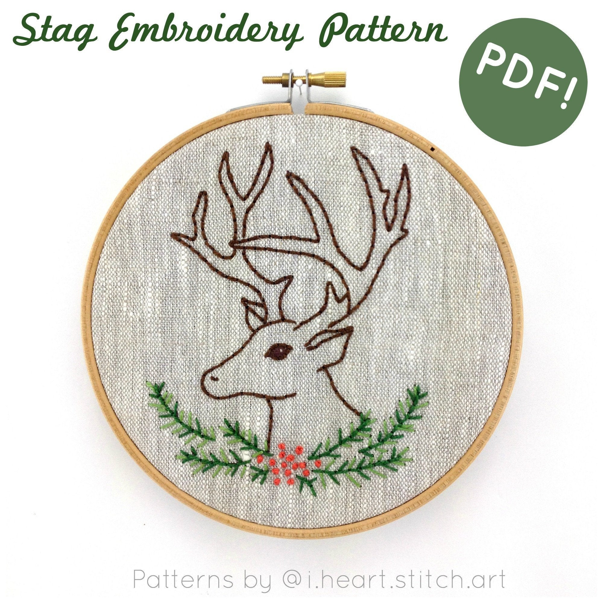 Christmas Hand Embroidery Patterns Christmas Hand Embroidery Pattern Stag Embroidery Pattern Deer Embroidery Pattern Pdf Cross Stitch Pattern Embroidery Pattern Pdf