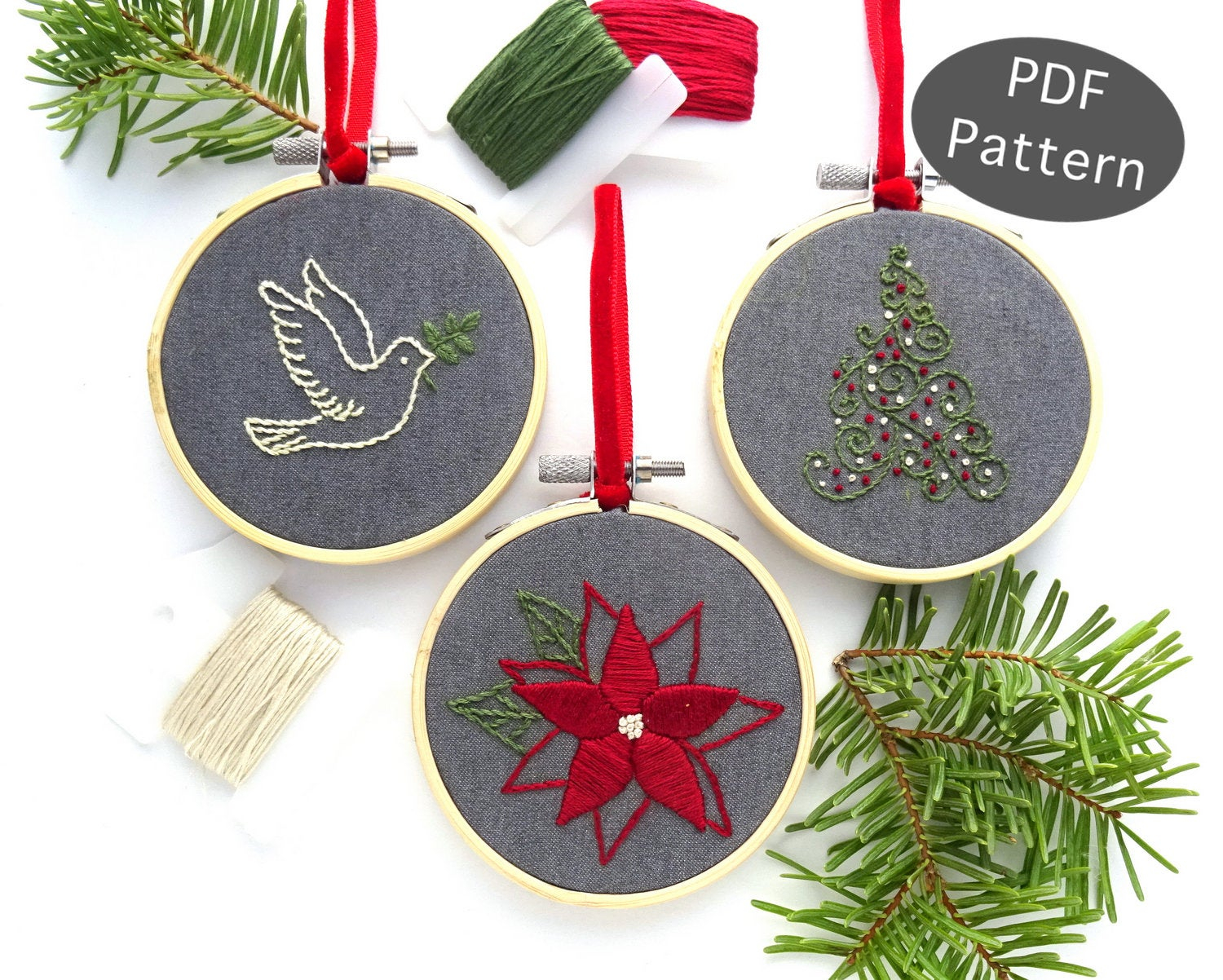 Christmas Hand Embroidery Patterns Christmas Ornament Set Hand Embroidery Pattern Diy Holiday Ornament Christmas Gift Idea Beginner Embroidery Pdf Peace Dove Ornament