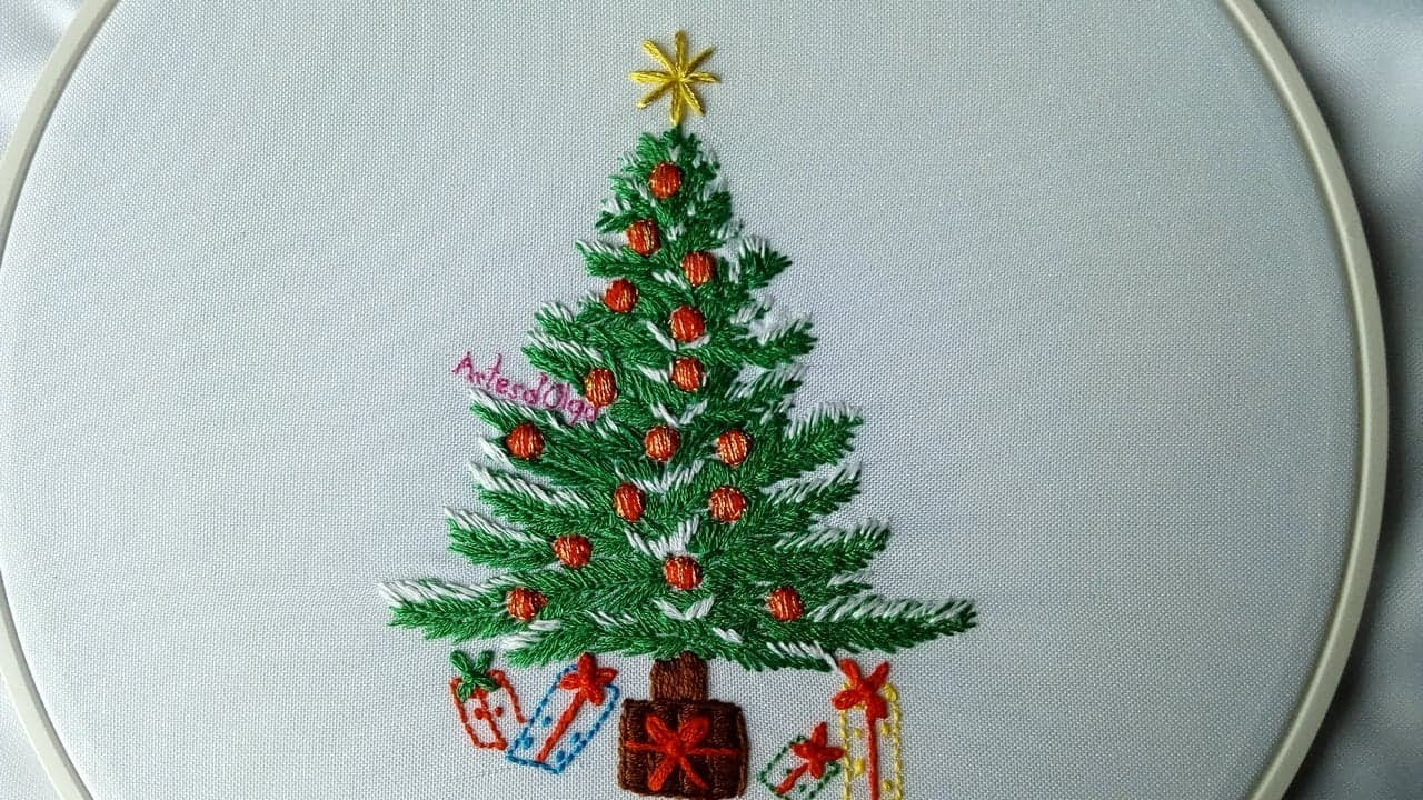 Christmas Hand Embroidery Patterns Hand Embroidery Christmas Tree Rbol De Navidad Bordado A Mano Artesdolga