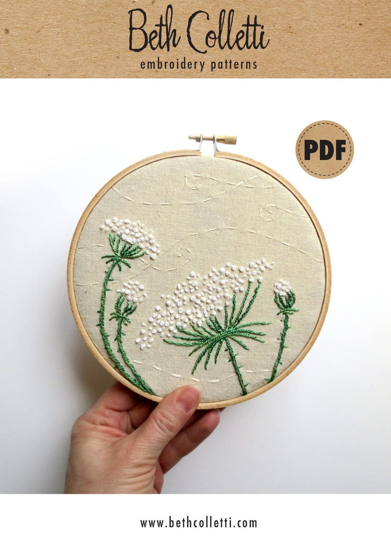 Christmas Hand Embroidery Patterns Queen Annes Lace Pdf Embroidery Pattern Diy Crafts Farmhouse Decor Neutral Wall Art Rustic Home Decor Hand Embroidery Hoop Wall Art