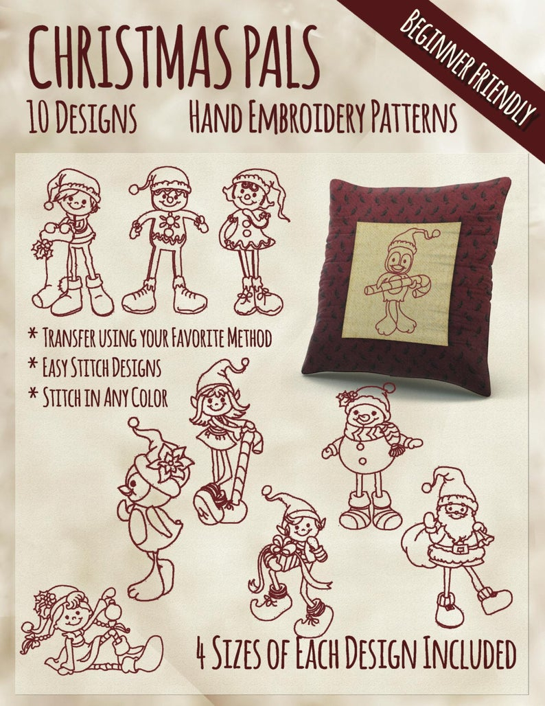Christmas Hand Embroidery Patterns Sale Hand Embroidery Patterns Christmas Pals In 4 Sizes Pdf Instant Download 10 Designs Holiday Elf Santa Snowmen Elves Winter