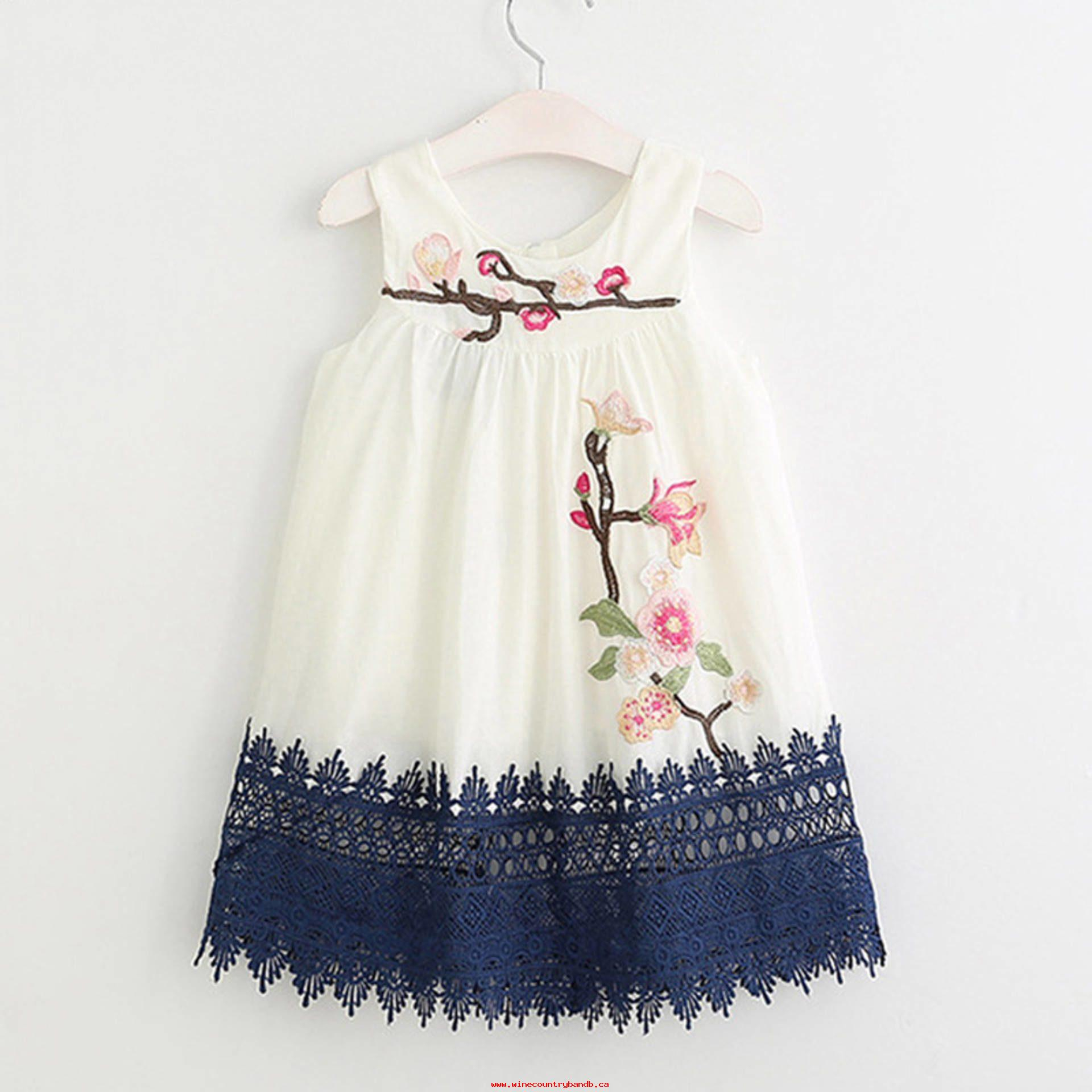 Cute Embroidery Patterns 2018 Summer Style Girls Clothes Sleeveless Cute Embroidery Design