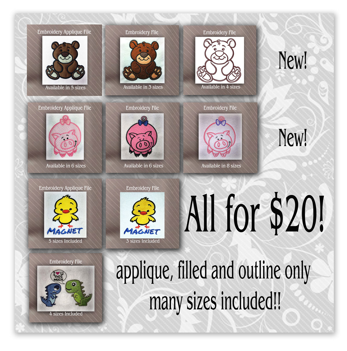Cute Embroidery Patterns Cute Embroidery Design Bundle
