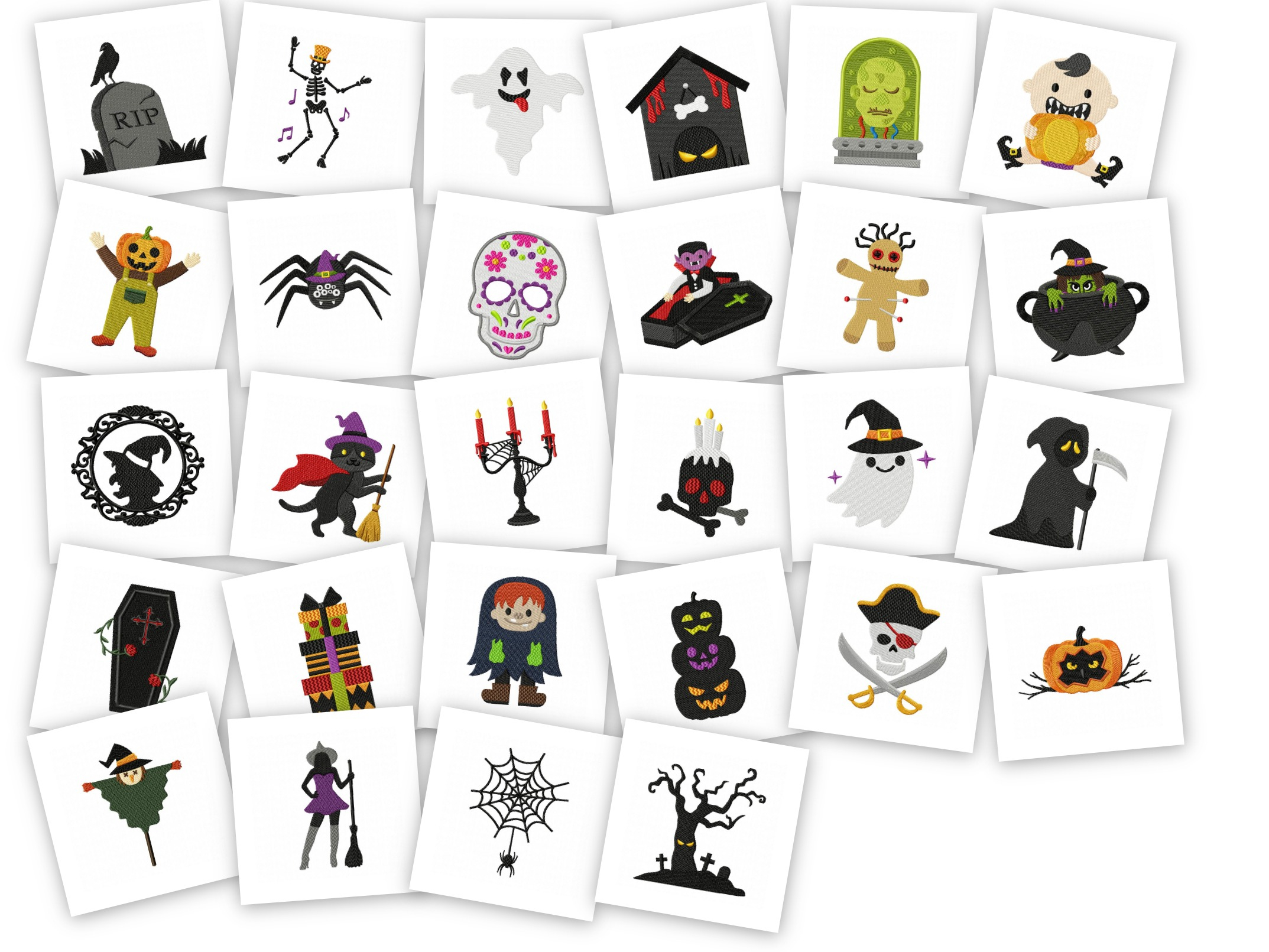 Cute Embroidery Patterns Halloween Spooky Cute Embroidery Pack 28 Designs Included