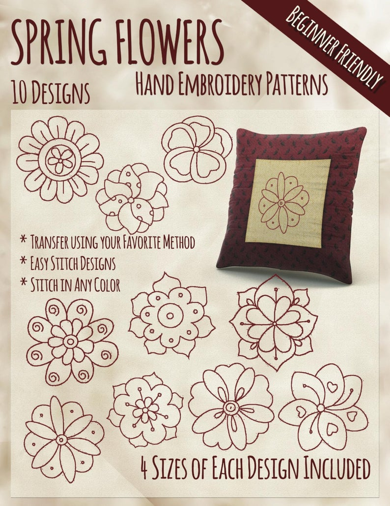 Cute Embroidery Patterns Sale Hand Embroidery Patterns Spring Flowers In 4 Sizes Pdf Instant Download 10 Designs Spring Fun Whimsical Cute Embroidery Quick Easy