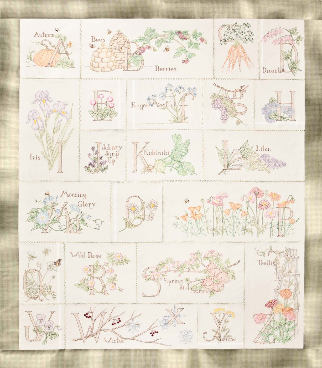 Embroidery Alphabet Patterns A Gardeners Alphabet Block Of The Month