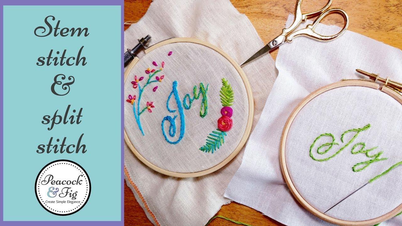 Embroidery Alphabet Patterns Embroidered Letters Stem Stitch Split Stitch