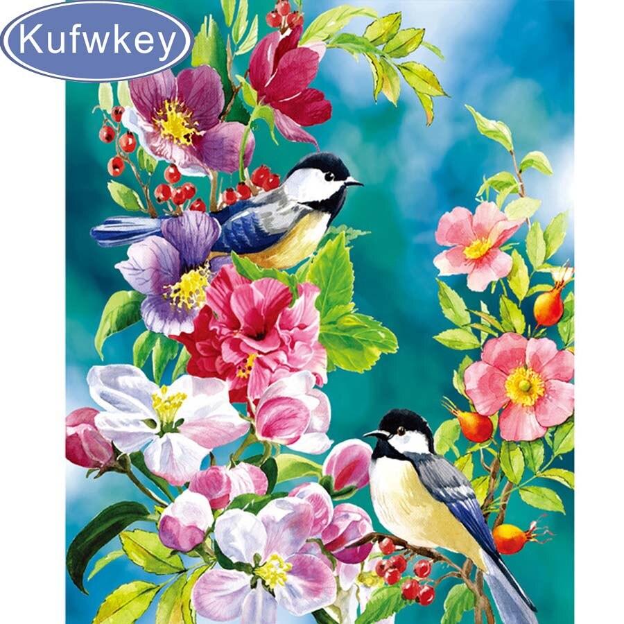 Embroidery Bird Patterns 100 Diy Diamond Mosaic Peony And Bird Handmade Diamond Painting