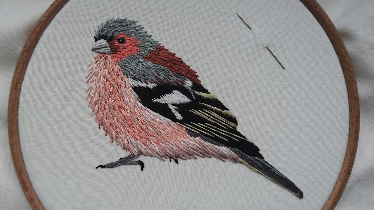 Embroidery Bird Patterns 2 Hand Embroidery Chaffinch Stitching A Bird Online Class