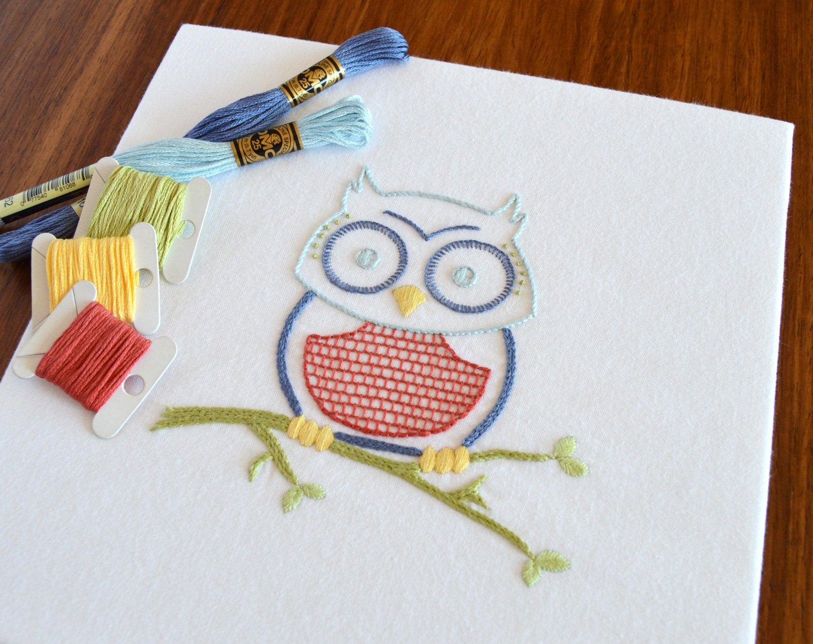 Embroidery Bird Patterns Owlish Hand Embroidery Pattern Modern Embroidery Bird Embroidery Owl Birds Embroidery Patterns Embroidery Pdf Pdf Pattern