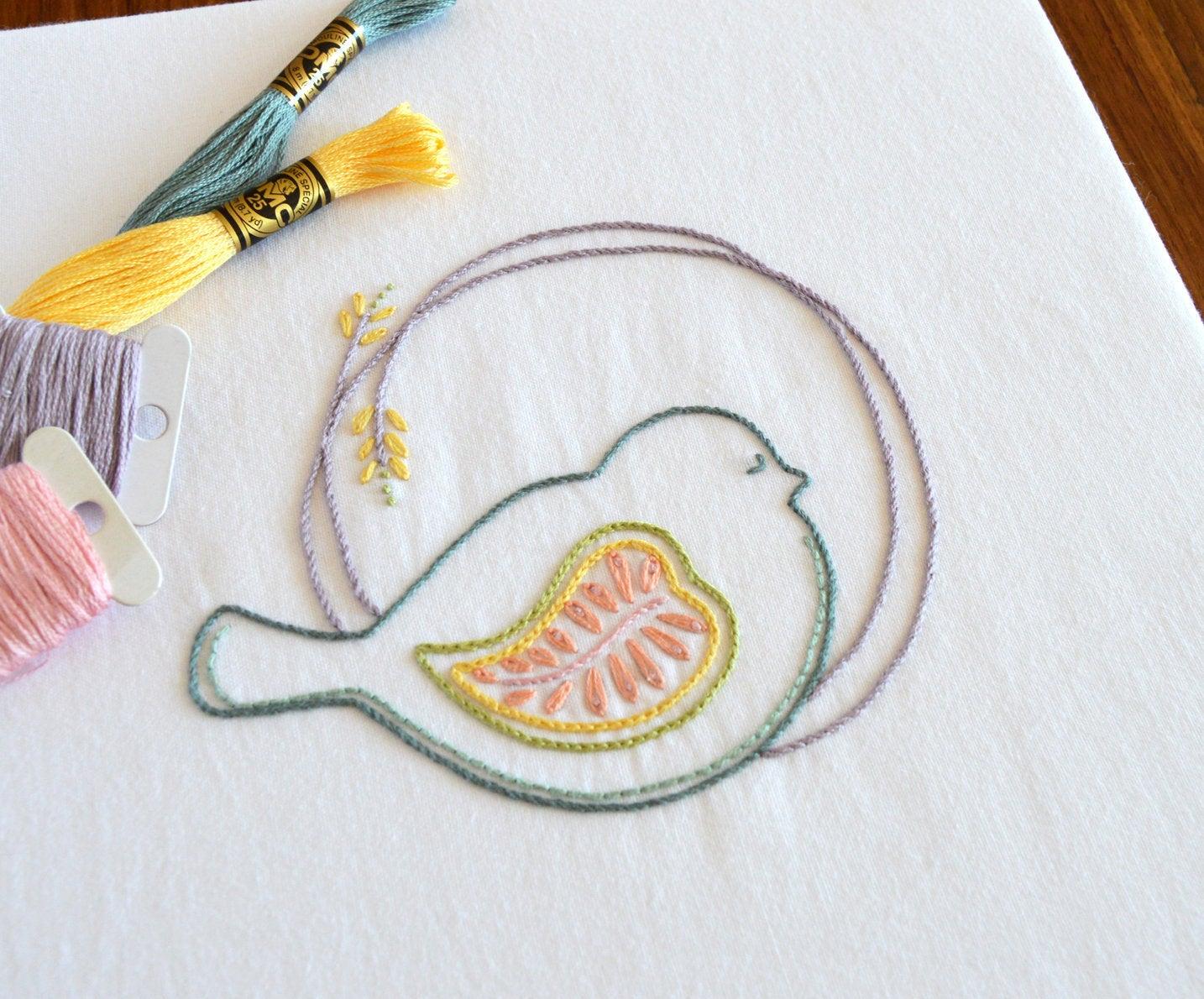 Embroidery Bird Patterns Puffer Bird Hand Embroidery Pattern Modern Embroidery Bird Embroidery Dove Pigeon Embroidery Patterns Embroidery Pdf Pdf Pattern