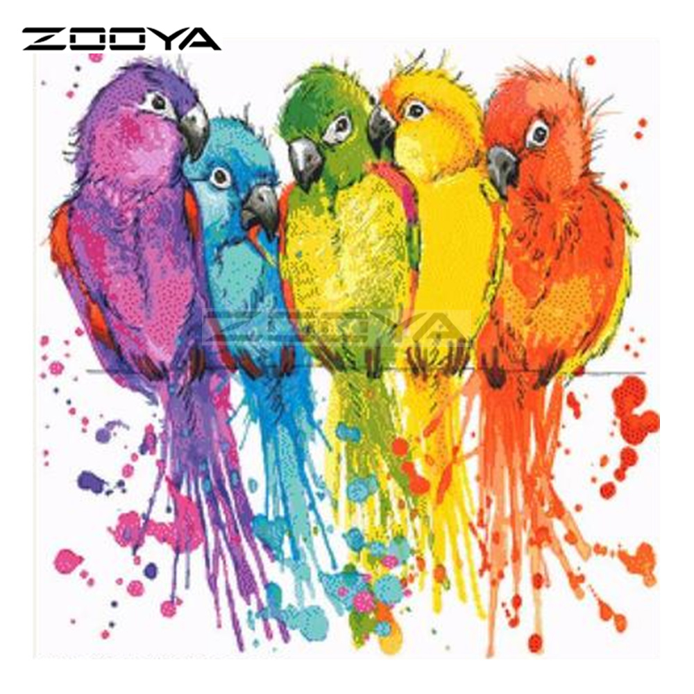 Embroidery Bird Patterns Us 437 45 Offzooya 5d Diy Diamond Painting Cross Stitch Colored Bird Parrot Animal Diamond Embroidery Square Mosaic Patterns Needlework Bk709 In