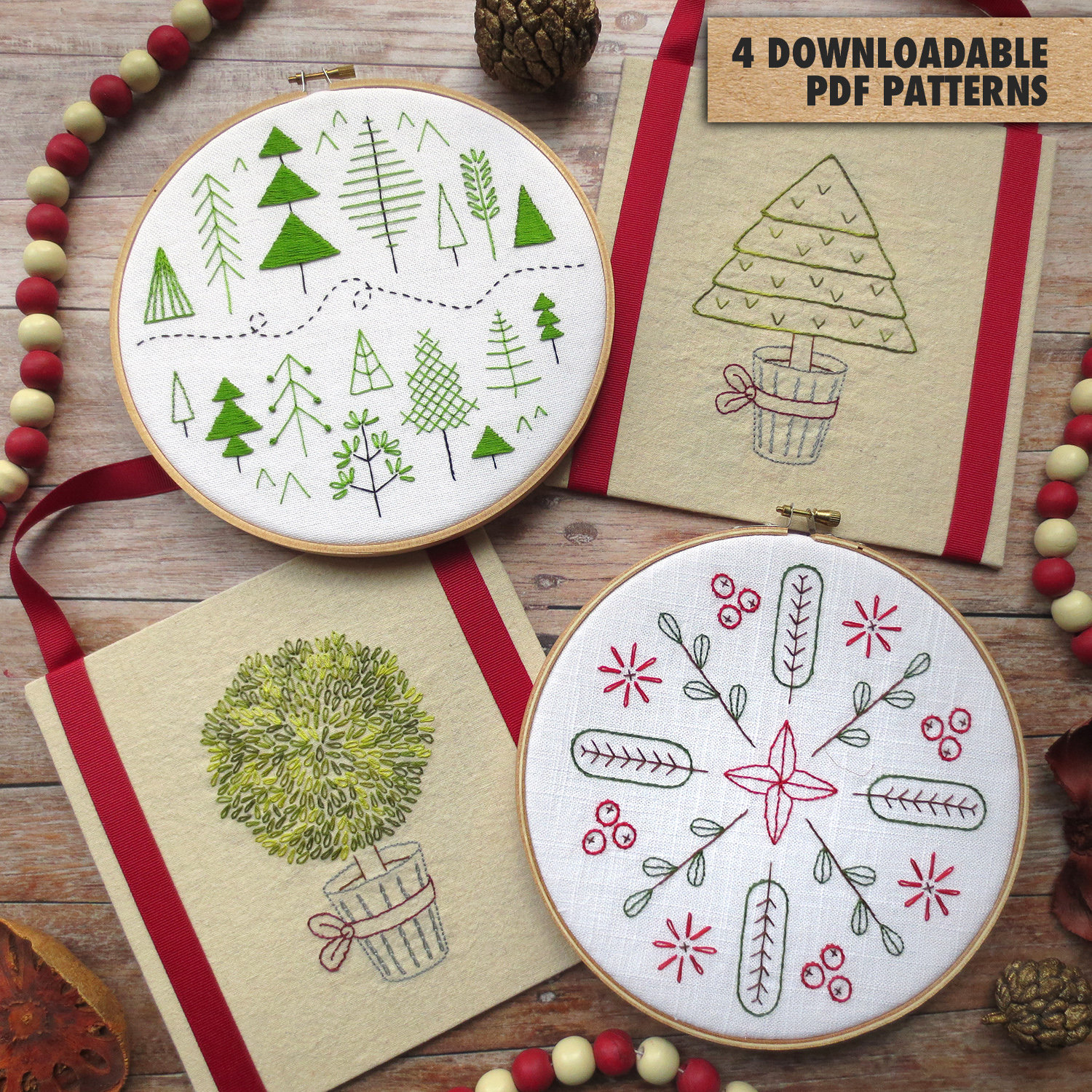 Embroidery Christmas Patterns 4 Hand Embroidery Patterns Christmas Holiday Embroidery Winter Decor Botanical Embroidery Pattern Beginner Embroidery Christmas Crafts