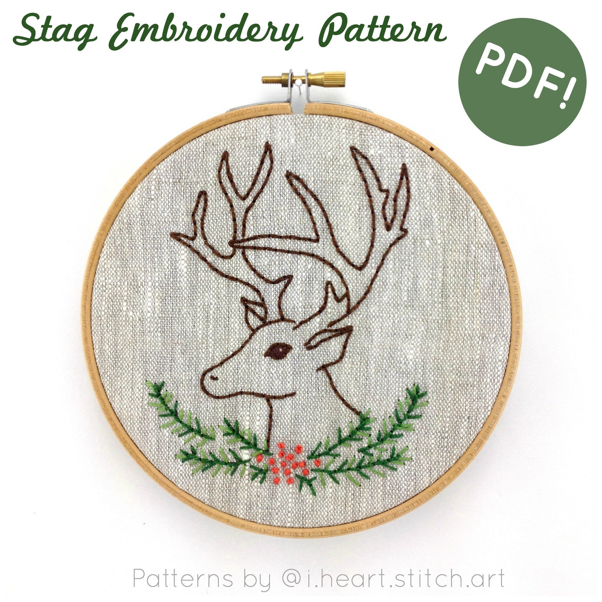 Embroidery Christmas Patterns Christmas Hand Embroidery Pattern Stag Embroidery Pattern Deer Embroidery Pattern Pdf Cross Stitch Pattern Embroidery Pattern Pdf