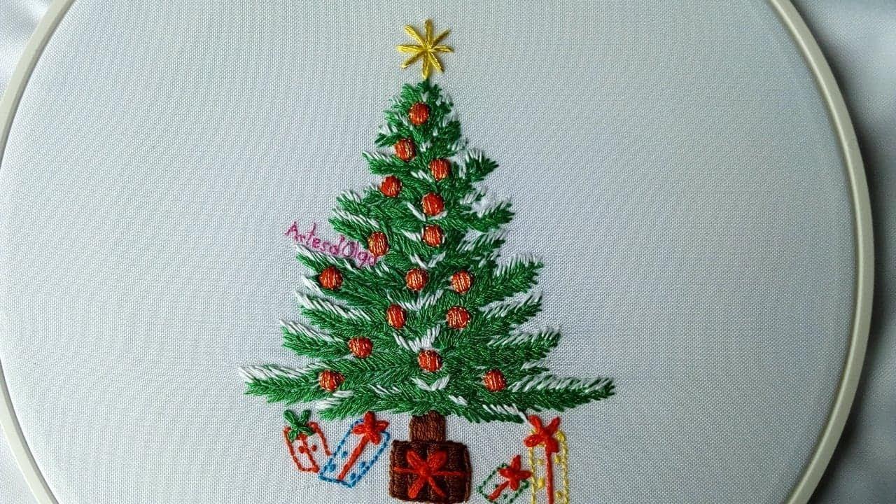 Embroidery Christmas Patterns Hand Embroidery Christmas Tree Rbol De Navidad Bordado A Mano Artesdolga