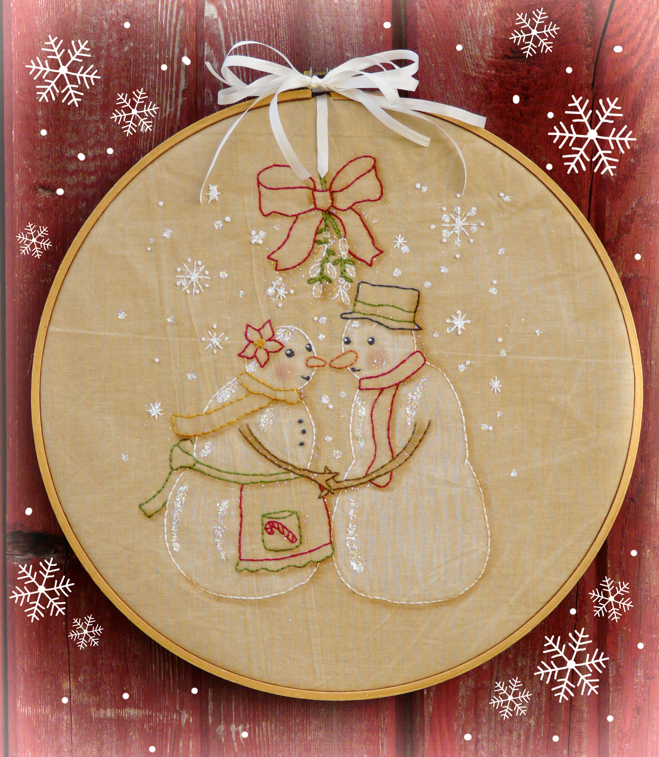 Embroidery Christmas Patterns Meet Me Under The Mistletoe Embroidery Pattern 343