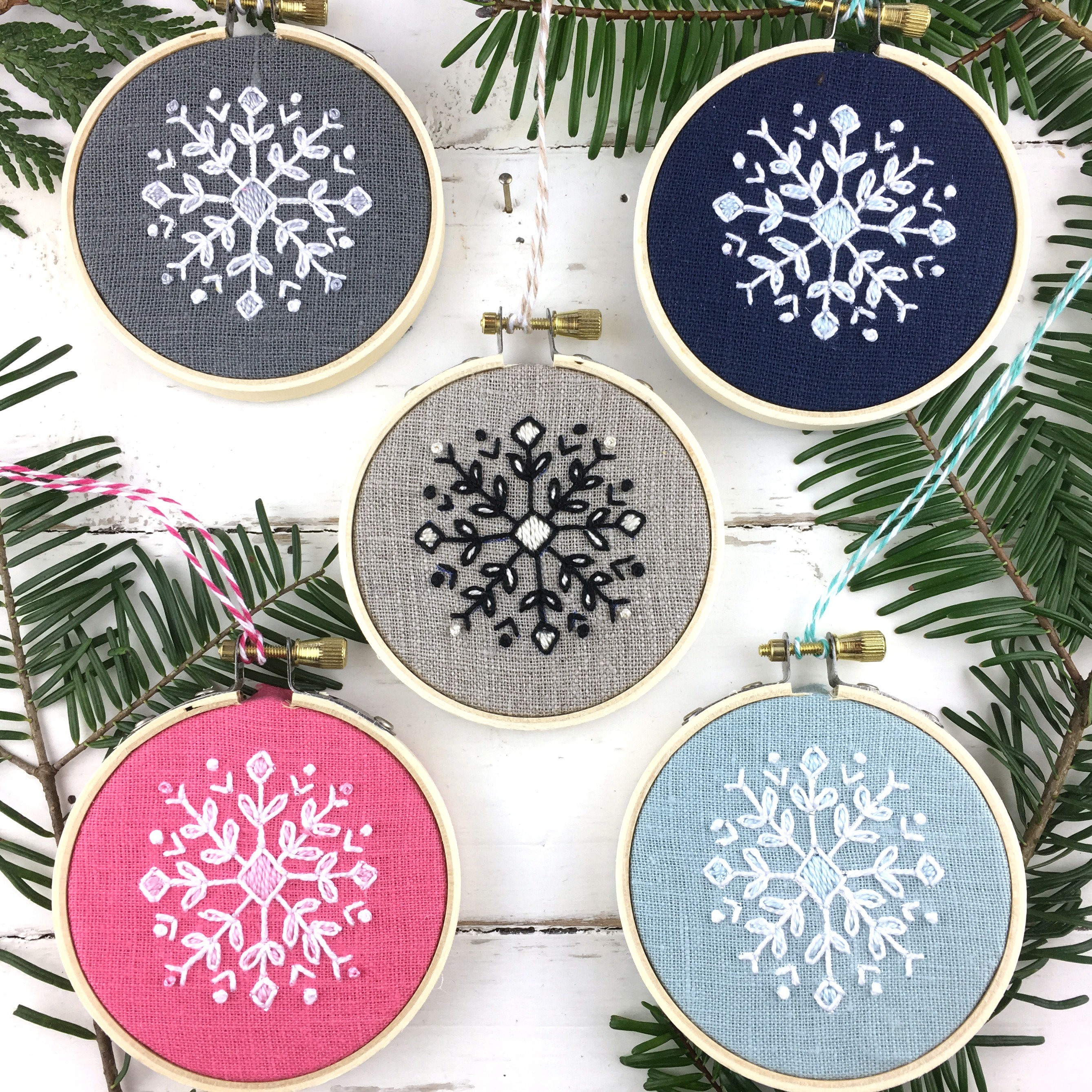 Embroidery Christmas Patterns Natural Christmas Embroidery Kit Ornament Embroidery Snowflake