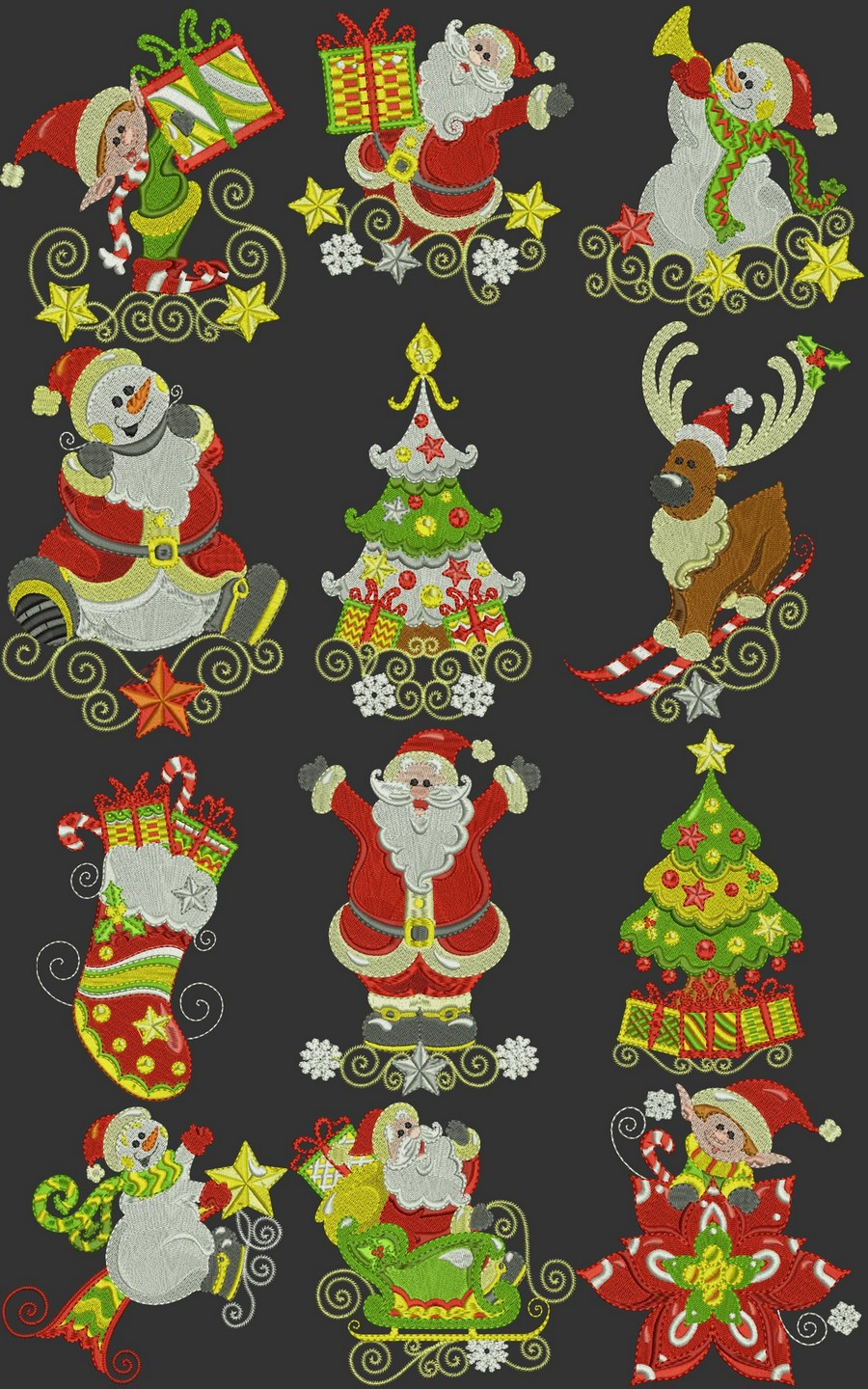 Embroidery Christmas Patterns Swirly Curly Christmas Time