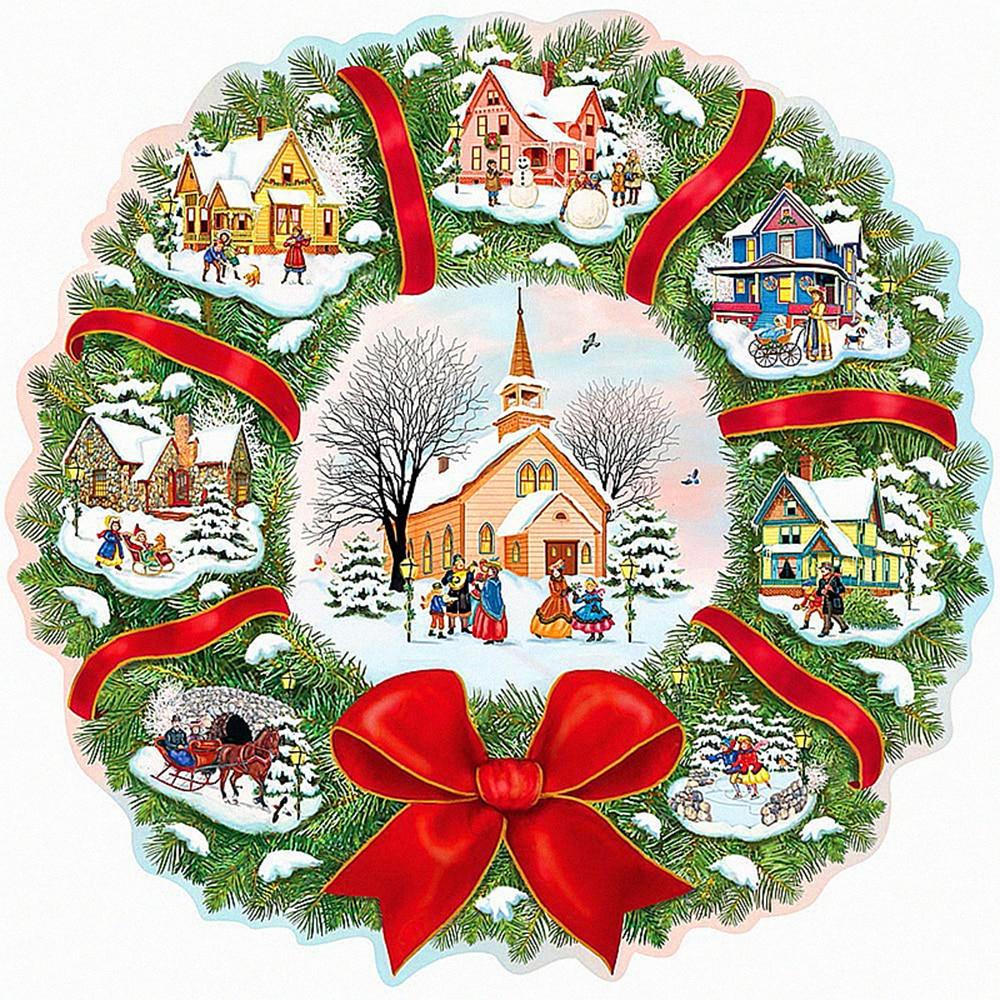 Embroidery Christmas Patterns Us 42 40 Offfull Diy 5d Diamond Painting Christmas Wreath Cross Stitch Diamond Embroidery Winter House Patterns Rhinestones Diamond Mosaic In