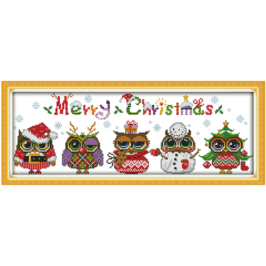 Embroidery Christmas Patterns Us 466 66 Offchristmas Owls Patterns Counted Cross Stitch Cartoon Cross Stitch 11ct 14ct Cross Stitch Kit Handmade Embroidery For Needlework In