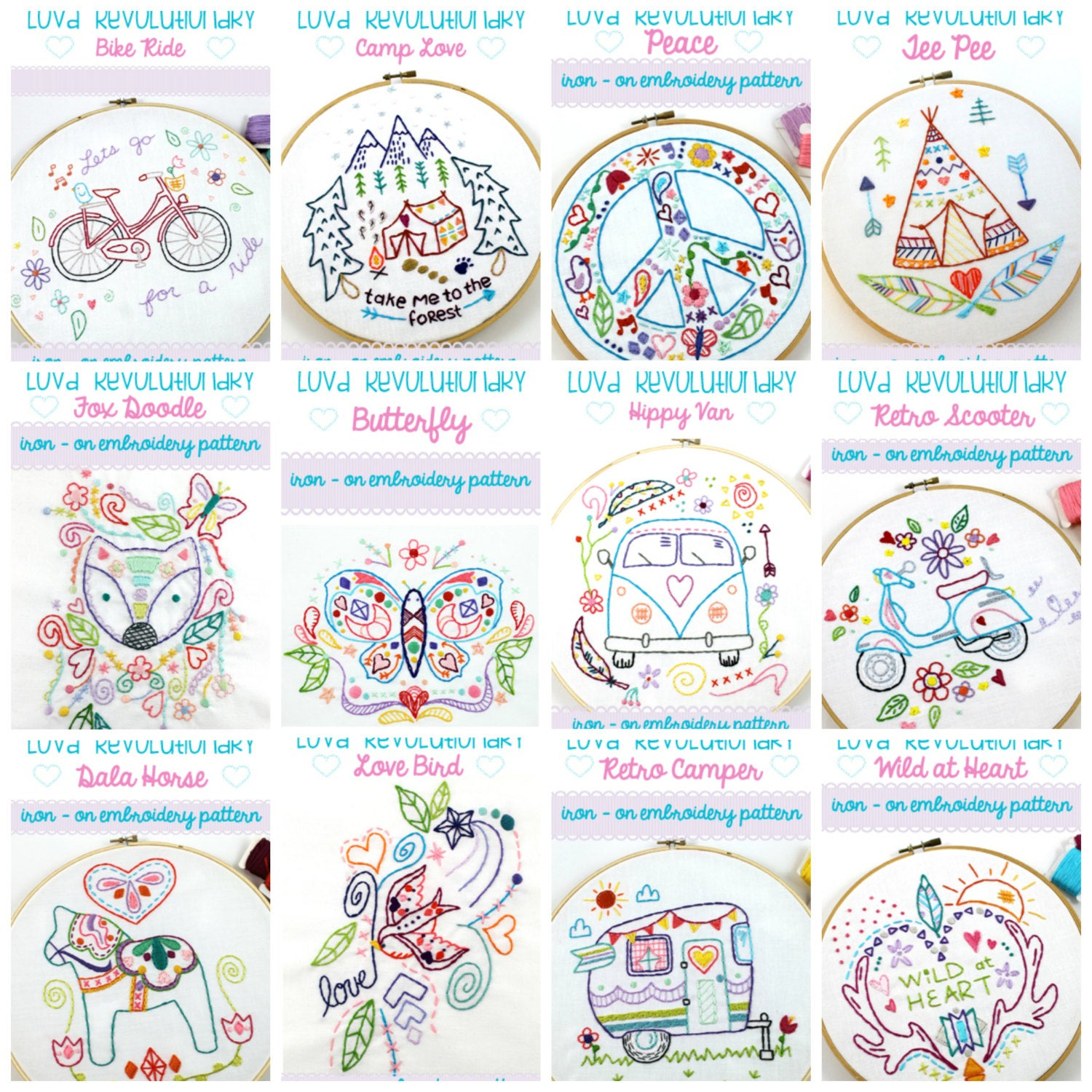 Embroidery Designs Patterns Iron On Hand Embroidery Patterns Hand Sewing Iron On Transfer Embroidery Designs Embroidery Gift Craft Kit Craft Gifts Hand Stitched