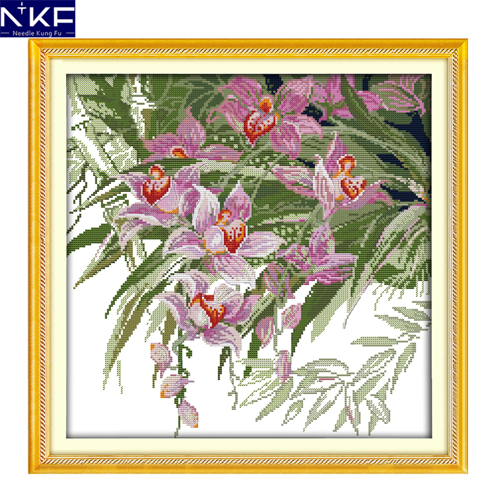 Embroidery Designs Patterns Us 948 48 Offnkf Orchid Flower Style Diy Handmade Needlecraft Sets Christmas Embroidery Designs Cross Stitch Patterns For Home Decoration In