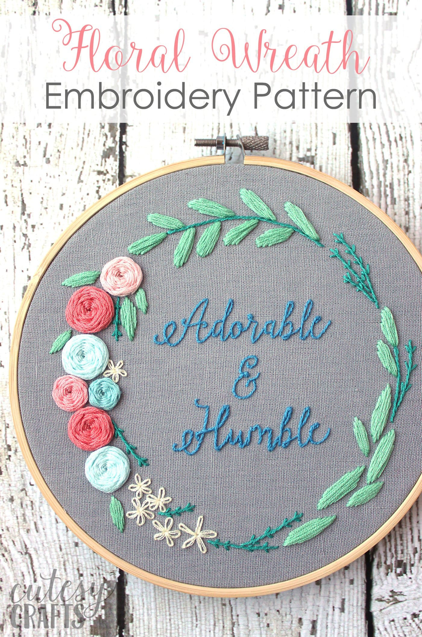 Embroidery For Beginners Free Patterns Adorable And Humble Free Floral Wreath Hand Embroidery Pattern