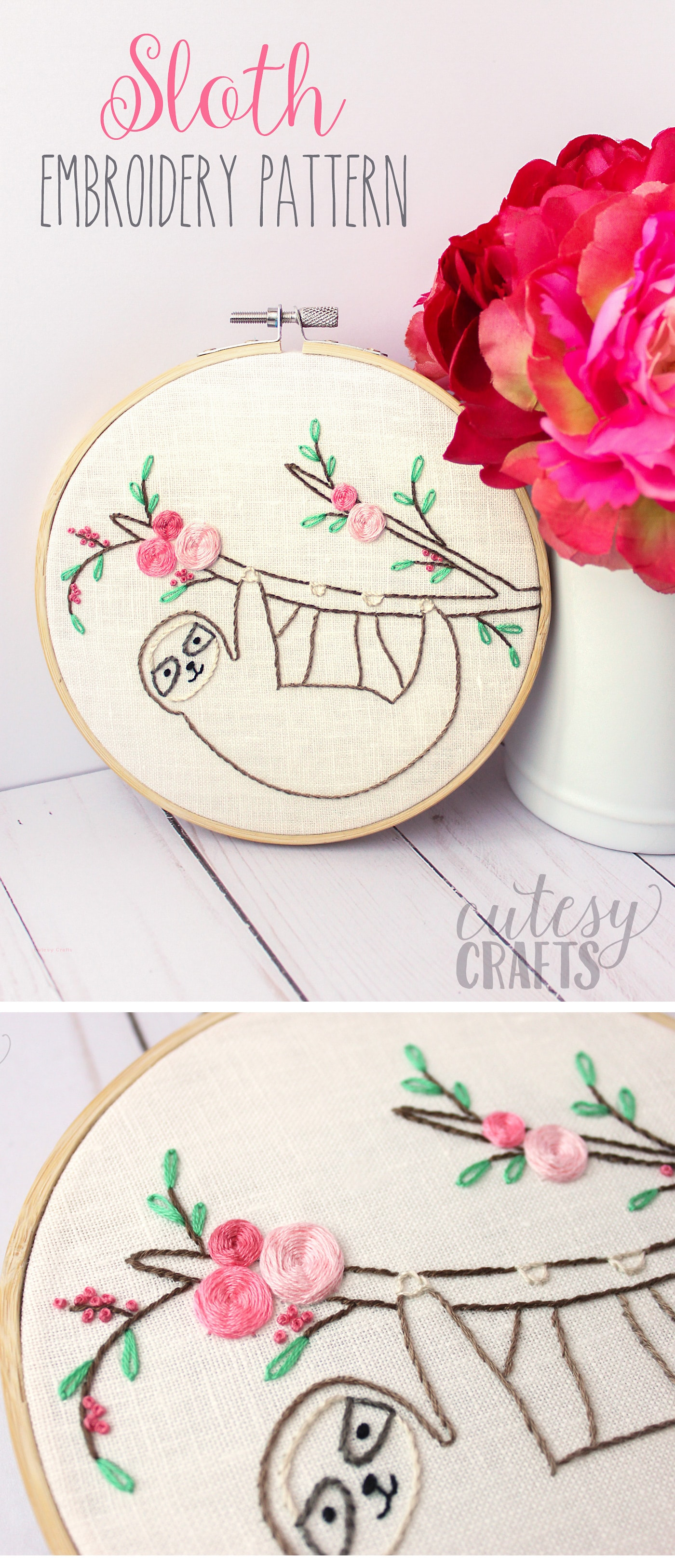 Embroidery For Beginners Free Patterns Adorable Sloth Hand Embroidery Pattern The Polka Dot Chair