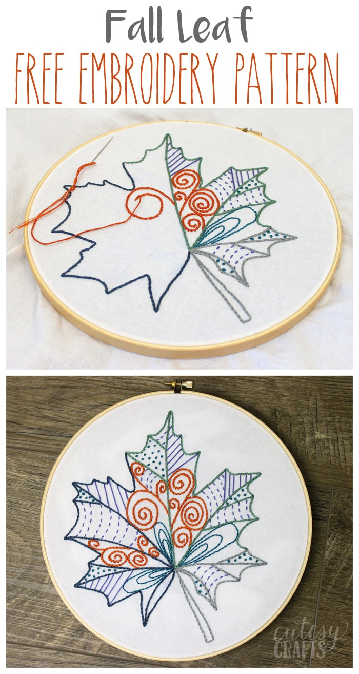 Embroidery For Beginners Free Patterns Fall Leaf Free Embroidery Pattern Cutesy Crafts