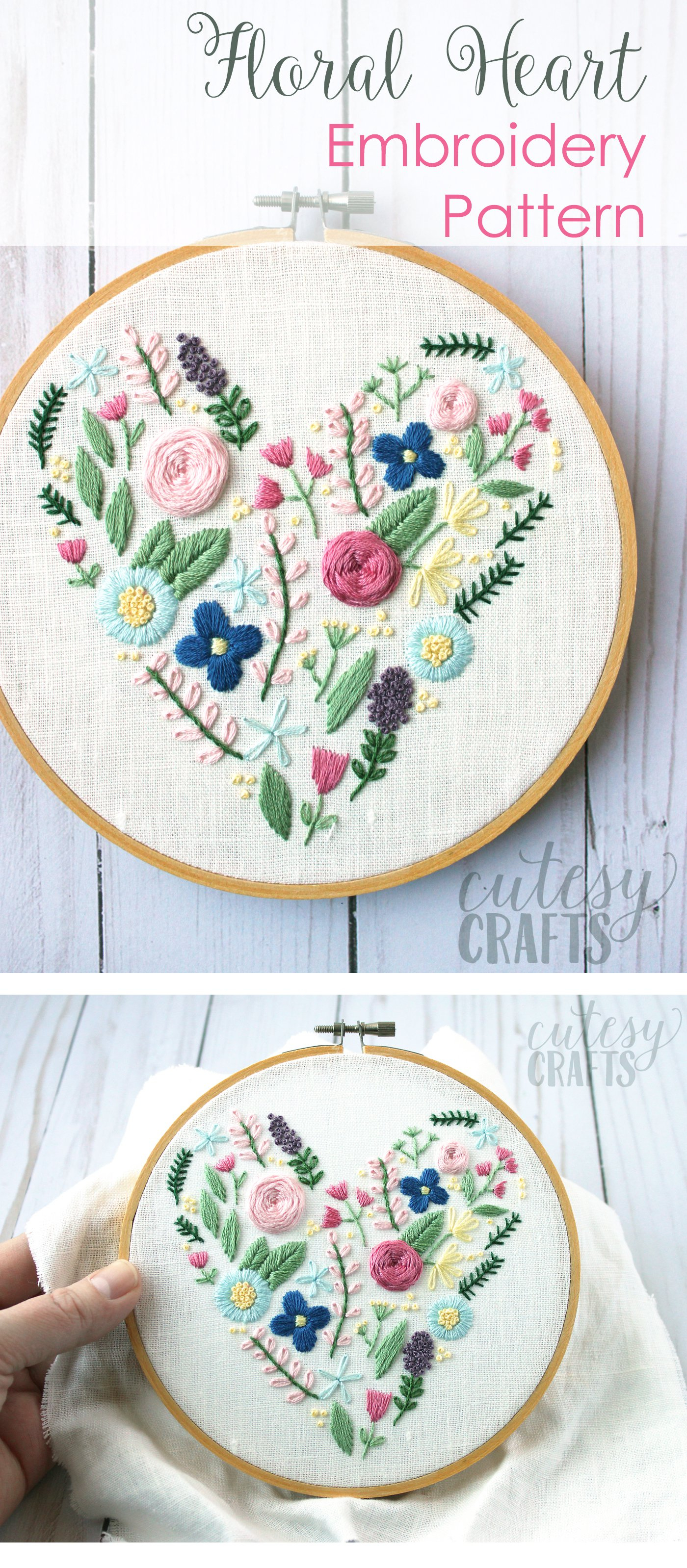 Embroidery For Beginners Free Patterns Floral Heart Hand Embroidery Pattern The Polka Dot Chair