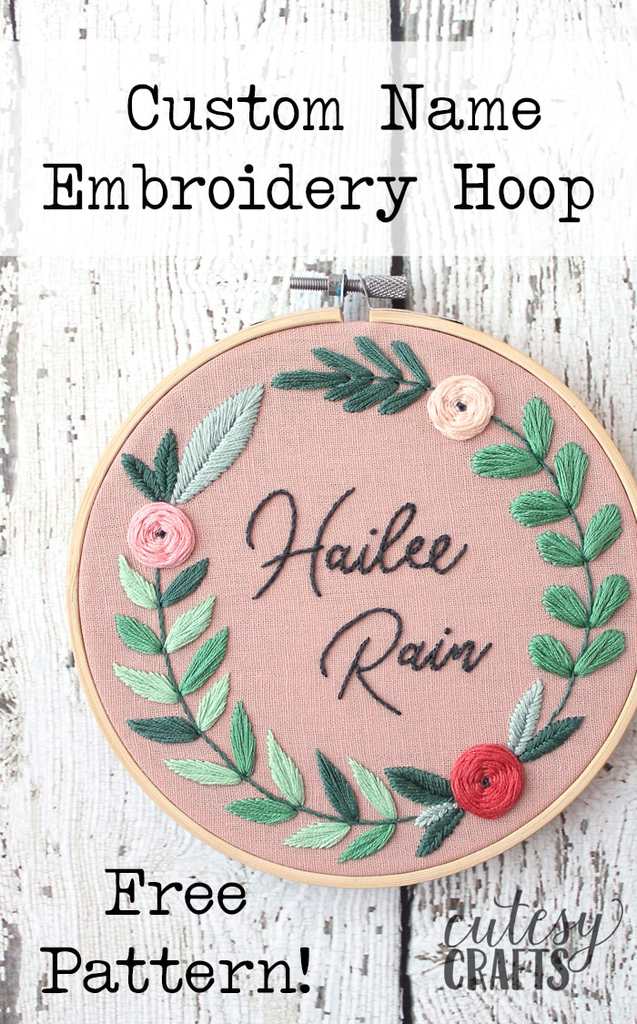 Embroidery For Beginners Free Patterns Floral Name Embroidery Hoop Pattern Cutesy Crafts