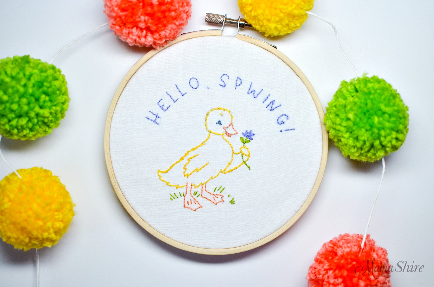 Embroidery For Beginners Free Patterns Free Embroidery Pattern For Spring Hello Spwing Mamashire