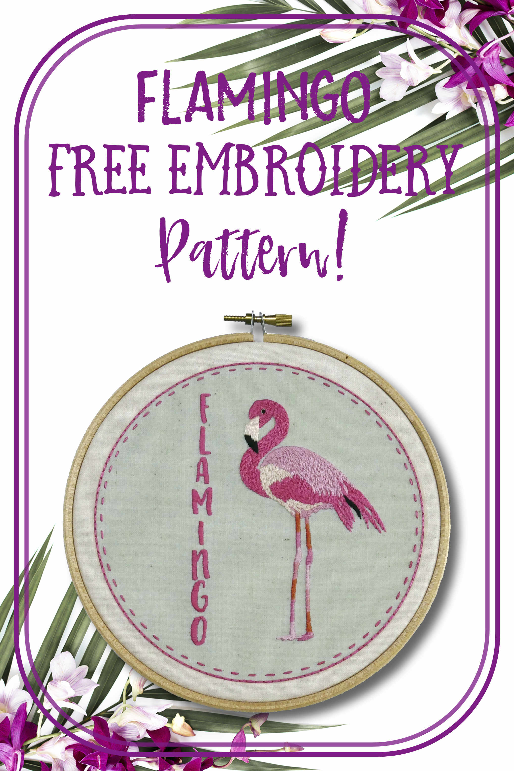 Embroidery For Beginners Free Patterns Free Flamingo Embroidery Pattern Nog Pepper Me Craft Kit