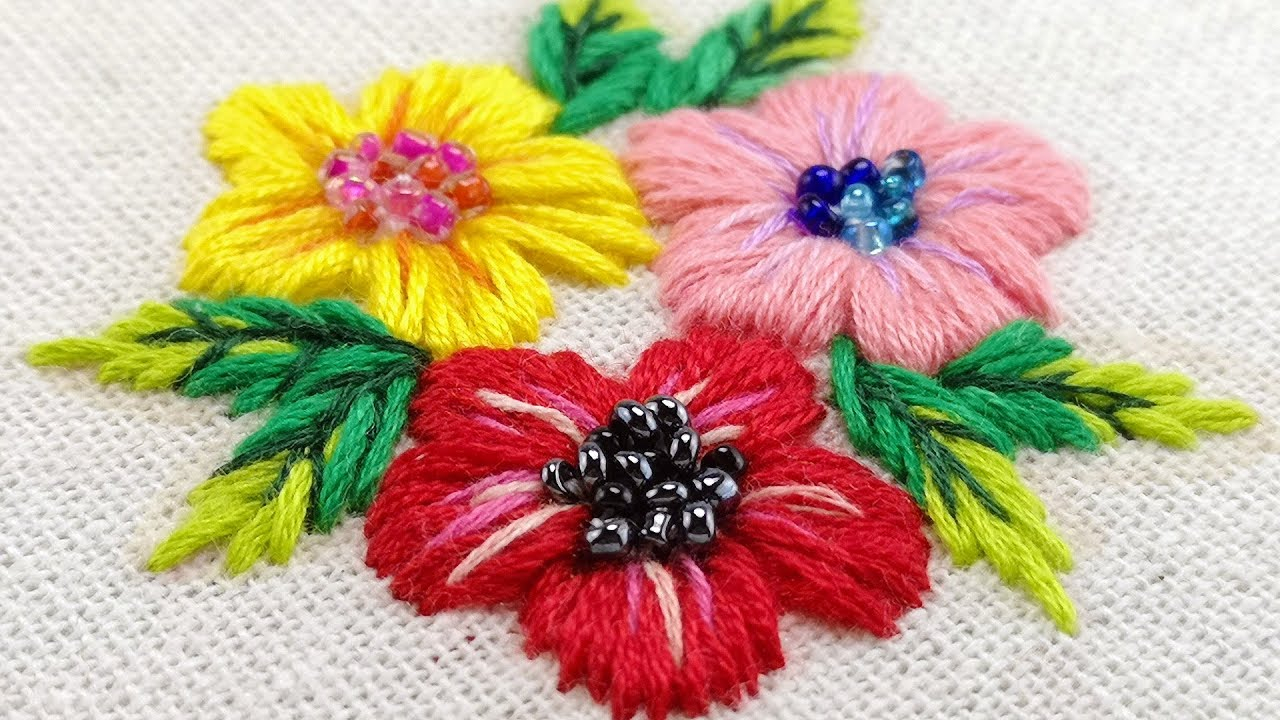 Embroidery For Beginners Free Patterns Hand Embroidery For Beginners Satin Stitch Flower Free Pattern