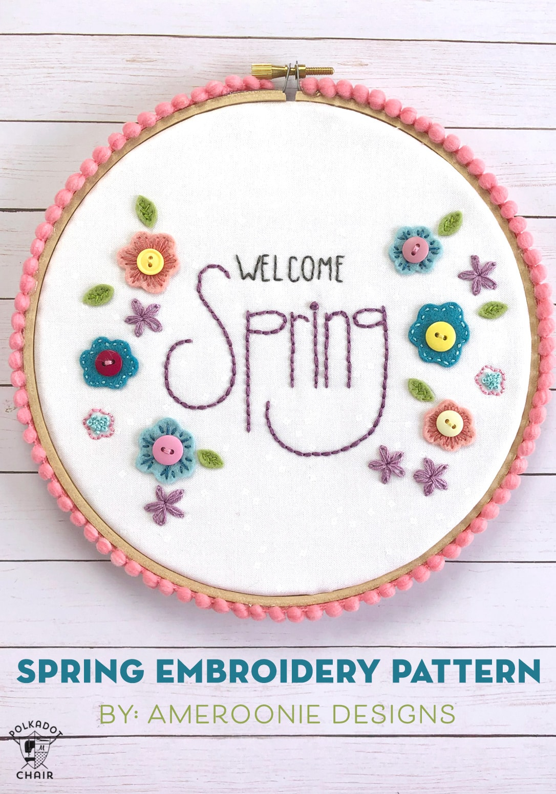 Embroidery For Beginners Free Patterns Welcome Spring Free Hand Embroidery Pattern The Polka Dot Chair