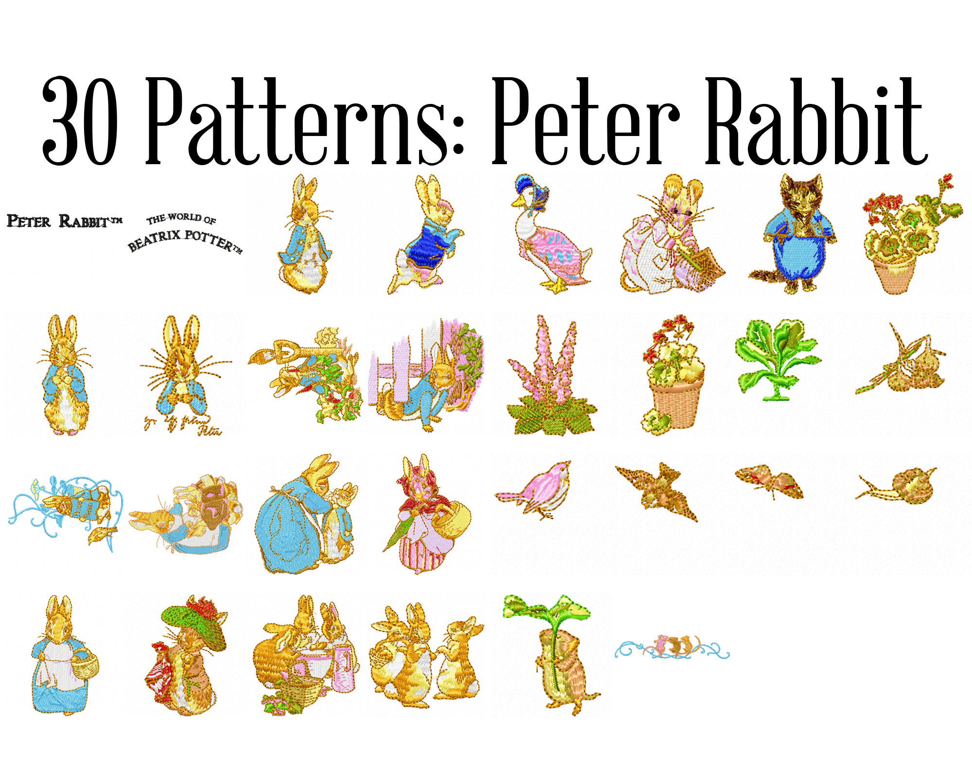 Embroidery Machine Patterns Download Beatrix Potter Peter Rabbit Machine Embroidery Patterns Peter Rabbit Embroidery Peter Rabbit Design Beatrix Potter Patch Instant Download