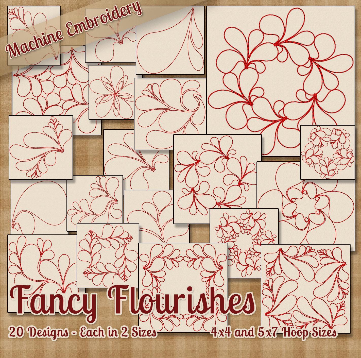 Embroidery Machine Patterns Download Fancy Flourishes Redwork Embroidery Machine Designs 20 Designs 2 Sizes Each Instant Download Elegant Embellishment Quilt Squares Patterns