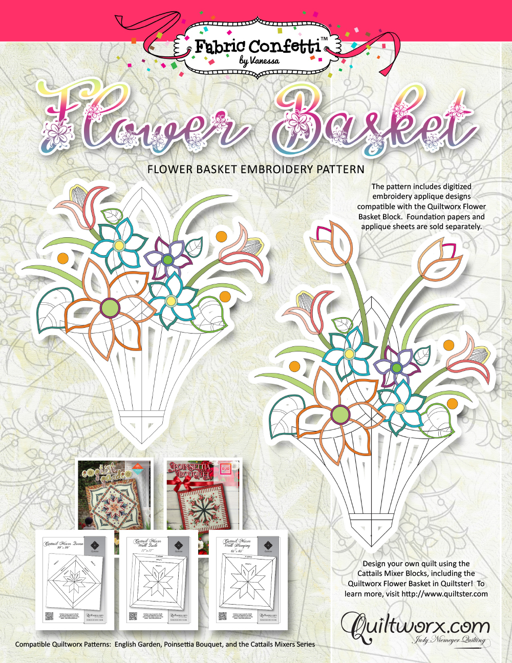 Embroidery Machine Patterns Download Flower Basket Embroidery Pattern Digital Download