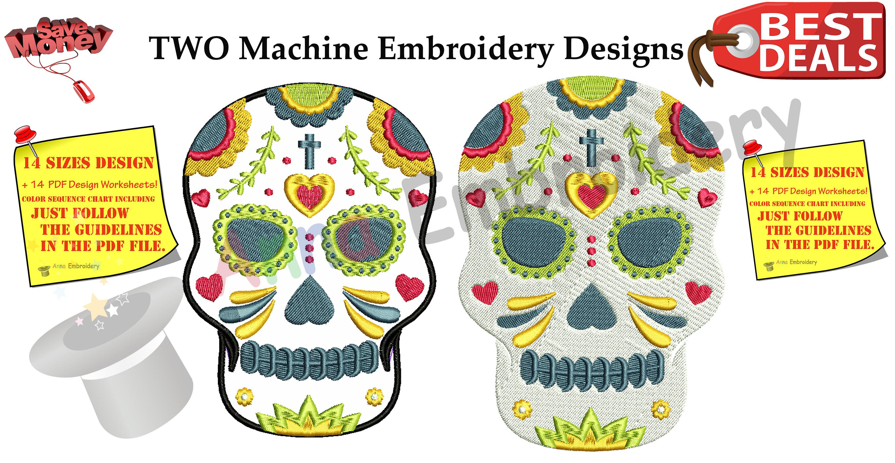Embroidery Machine Patterns Download Skull Applique Embroidery Design Sugar Skull Pattern Machine Patterns Instant Download Pes