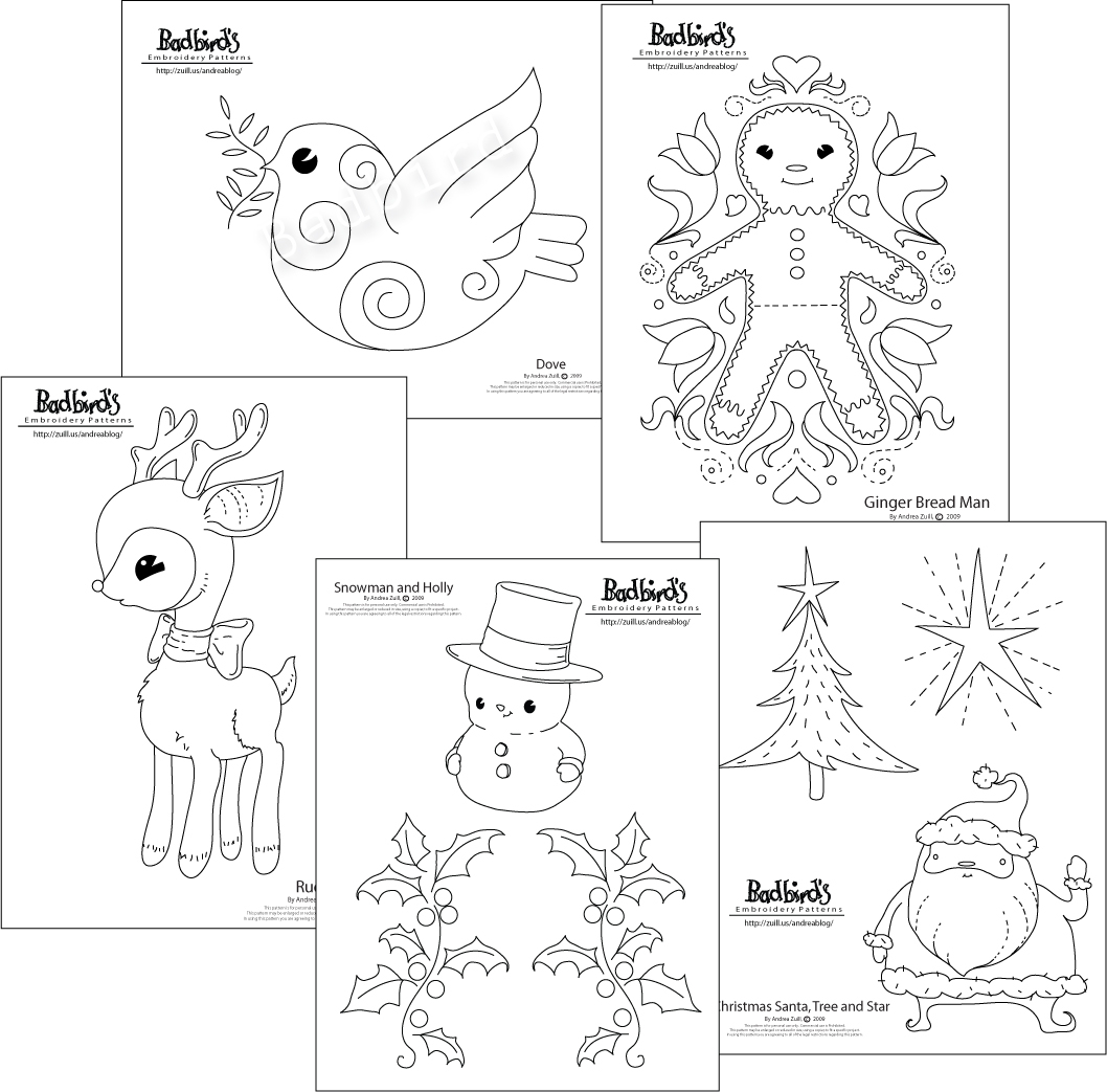 Embroidery Patterns Christmas New Christmas Embroidery Pattern Set Andrea Zuills Blog