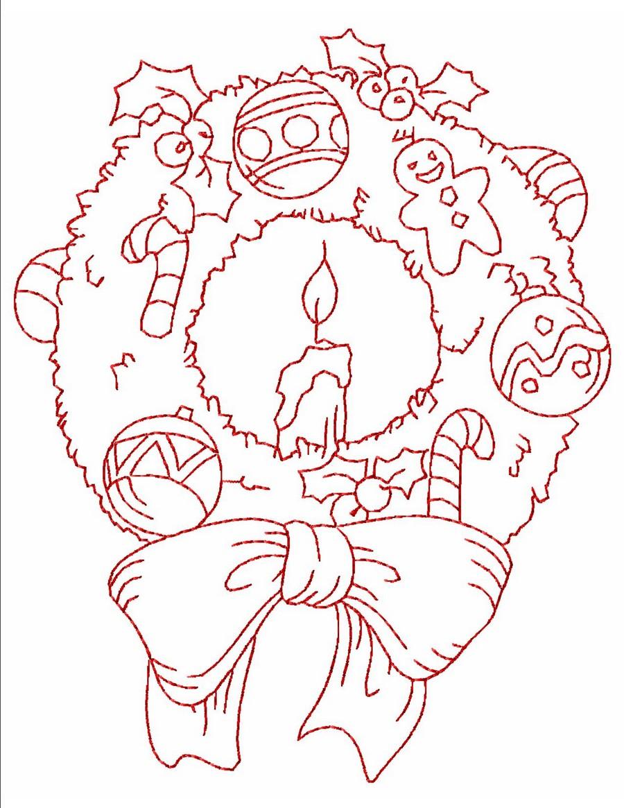 Embroidery Patterns Christmas Redwork Elegant Christmas