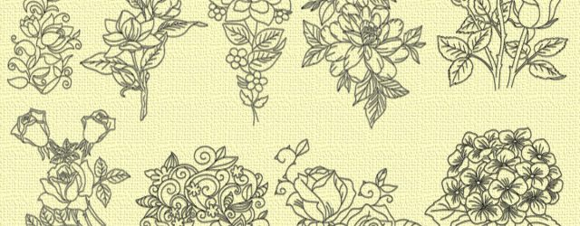 Flower Embroidery Pattern Various Flowers Embroidery Designs Pack 9 Qty
