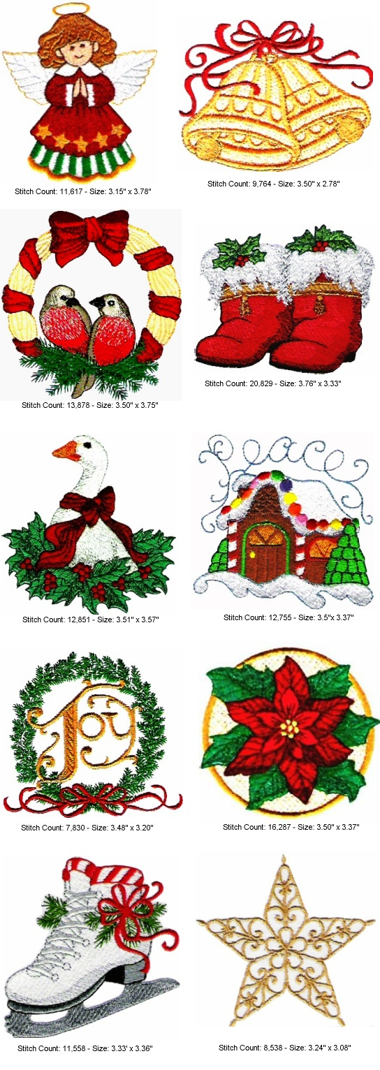 Free Christmas Embroidery Patterns Christmas Collection Machine Embroidery Designs 1999 Golden